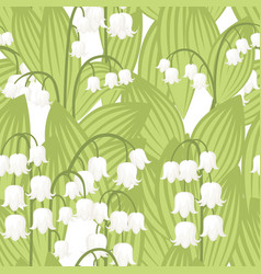 Seamless pattern convallaria majalis lilly the vector
