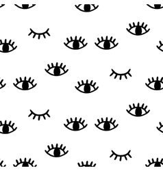 Seamless pattern with open and winking eyes vector