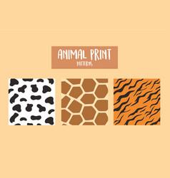 set animal print patterns giraffe cow and tiger vector image