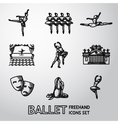 Set of Ballet freehand icons with - ballet dancers vector