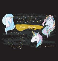 set of cute cartoon unicorns vector image