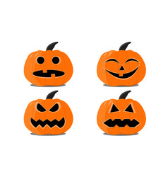 set of halloween pumpkins on the white background vector image