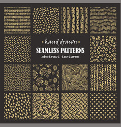 set of seamless hand drawn marker and ink patterns vector image