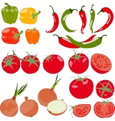 Set of vegetables with peppers chili pepper vector