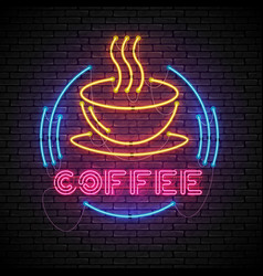 Shining and glowing neon coffee sign in frame vector