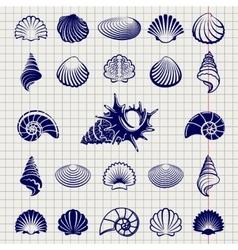 Sketch of sea shells vector