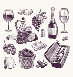 sketch wine winemaking classical alcoholic drink vector image
