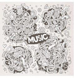 sketchy doodles cartoon set music vector image
