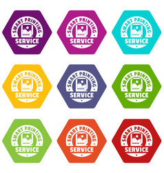Smart printing service icons set 9 vector