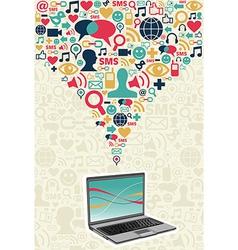 Social media computer connection vector image