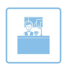 Sport bar stand with barman behind it and football vector