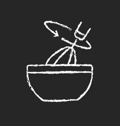 Stir cooking ingredient chalk white icon on dark vector