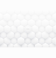 white 3d hexagons abstract background vector image