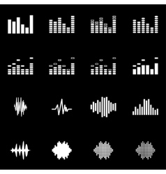 White music soundwave icon set vector