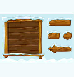 Winter game ui wooden buttons with snow vector