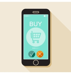 With a mobile phone gadget in flat style vector