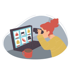 woman searching for clothes in internet on web vector image