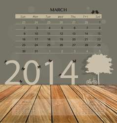 2014 calendar monthly calendar template for March vector image