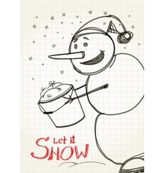 Christmas card Snowman collecting snow to bucket vector image vector image
