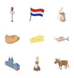 Country Holland icons set cartoon style vector image vector image