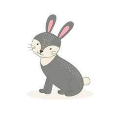 Cute cartoon rabbit isolated on white background vector image