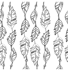 Hand drawn seamless pattern with feathers vector image