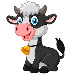 Happy baby cow sitting on white background vector