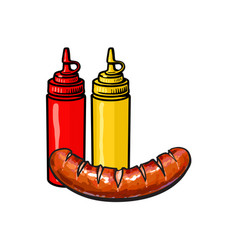 ketchup mustard and grilled roasted sausage vector image