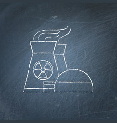 nuclear power plant chalkboard sketch vector image