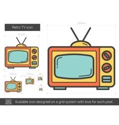 Retro TV line icon vector image vector image