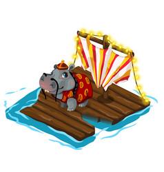 Chinese behemoth crosses river on wooden raft vector