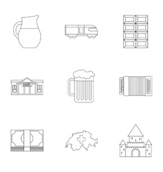 Holiday in Switzerland icons set outline style vector image