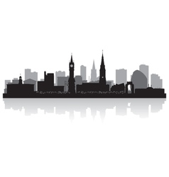 Leicester city skyline silhouette vector image