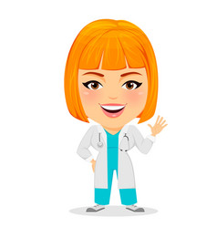 medical doctor woman saying hello funny cartoon vector image vector image