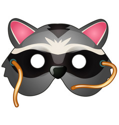 raccoon mask on face in cartoon style vector image vector image
