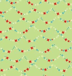 Seamless pattern with Christmas star garland vector image