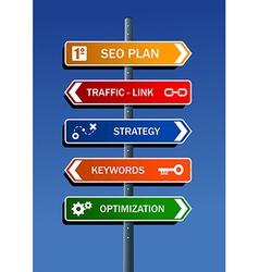SEO plan steps road post vector image
