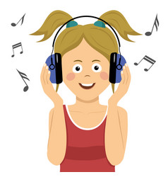 Teenager girl listening to music in headphones vector