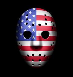 vintage goalie mask with usa flag vector image