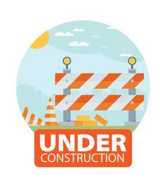 Website improvement under construction flat icon vector
