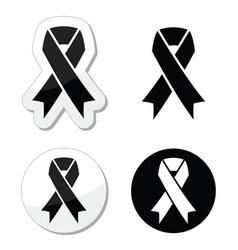 Black ribbon - mourning death melanoma symbol vector image