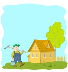 cartoon gardener vector image
