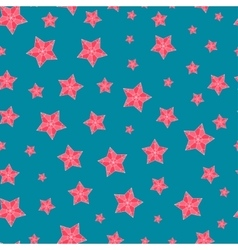 Christmas seamless pattern with red stars vector image