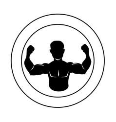 circular border silhouette half body muscle man vector image