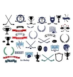 Ice hockey sport game icons and elements vector image vector image