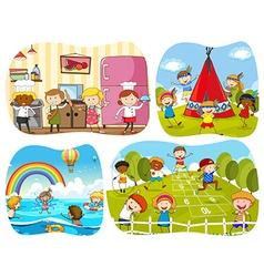 People in four different scenes vector image