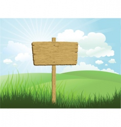 wood sign in grass vector image vector image