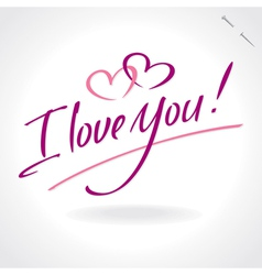 i love you - hand letering vector image