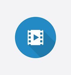 media Flat Blue Simple Icon with long shadow vector image