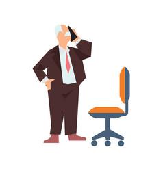 old man in business suit speak phone vector image
